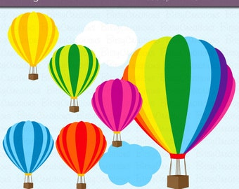 Hot Air Balloon Digital Art Set Clipart Commercial Use Clip Art INSTANT DOWNLOAD Hot Air Balloon Clipart