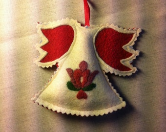 Embroidered angel ornament