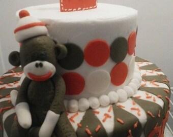 Handmade Edible Fondant Sock Monkey Cake Topper Set