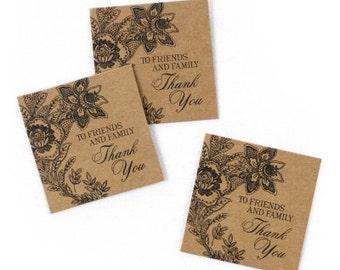 Vintage Kraft Paper Rustic Wedding Favor Thank You Tags (Pack of 25)