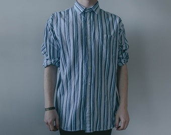 L Blue And White Striped Linen Button Up Long Sleeve Shirt