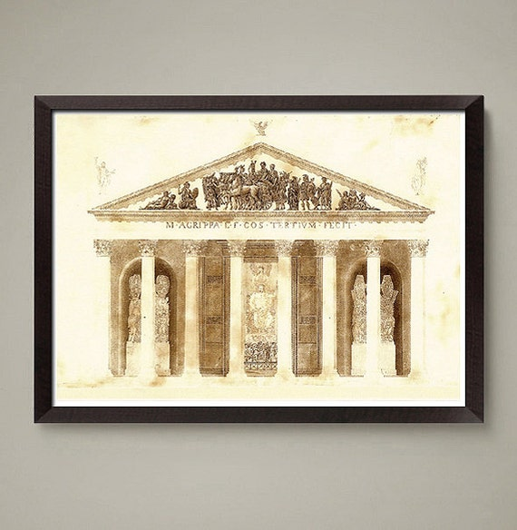 Greek Architecture Drawing ancient greek architectural drawing art print. nice home or