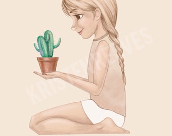 "8x10 ""A Girl and Her Cactus"" Children's Wall Art Print - Kids Girl Room Decor"