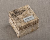 Birch Bark Wood Wedding Ring Bearer Box, Rustic Wooden Ring Box ,  Engraved  Bride and groom names