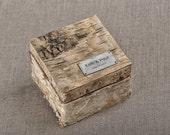 Birch Bark Wood Wedding Ring Bearer Box, Rustic Wooden Ring Box ,  Engraved  Bride and groom names, Model no: 03/birchbark/bx