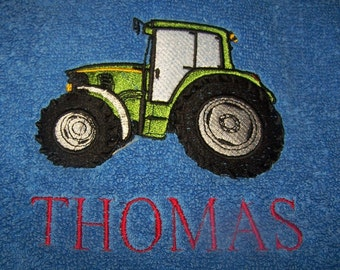 Personalised embroidered Tractor bath towel (100% cotton)