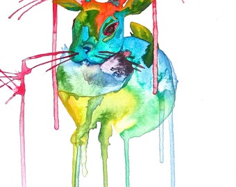Rainbow Jackalope Print, Original Art, Liquid Acrylic, Rabbit with Antlers
