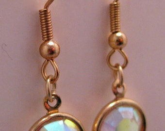Gold-plated French Hook Earrings with Faceted Crystals