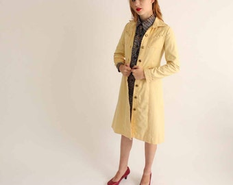 vintage 1970s pale yellow denim studded jacket - long knee length flare studded jacket - xxs xs - 70's glam