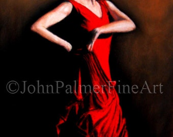 Flamenco dancer 2 -  print from my original pastel painting.