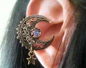 Fairy Moon -EAR CUFF- Moon Cuff Earring Charm Antique Gold Non Pierced  Cuff Earring No Post