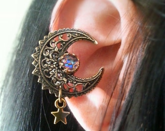 Fairy Moon -EAR CUFF- Moon Cuff Earring Charm Antique Gold Non Pierced  Cuff Earring No Post
