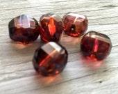 Czech glass beads: 12mm 3 cut round beads fushia picasso 5 pack
