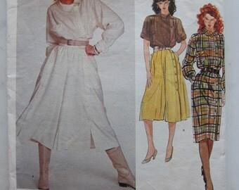 80s Chloe Karl Lagerfeld Claude Montana 2855 Vogue Paris Original Culottes Dress - Top - Split Skirt - Designer Vintage Sewing Patterns 8
