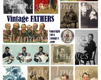 VINTAGE FATHERS digital collage sheet DOWNLOAD Victorian men with baby children antique photos art vintage ephemera Dad Father's Day cards
