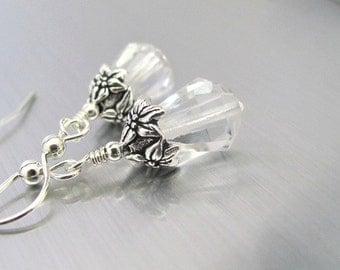 Vintage Crystal Earrings, Sterling Silver Wedding Earrings, Vintage Hand Cut Crystals, Antiqued Flower Bead Cap, Bridesmaid Gift