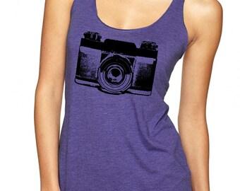 Womens Camera Shirt tank top ladies tshirt clothing active wear trendy photographer gifts razor back fun gym shirts
