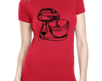Kitchen Mixer Tshirt Womens Baking Shirts screen print retro ladies fashion vintage bakers food gifts purple tops