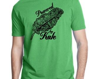 Mens Kale T-Shirt  - Screen Printed Vegan Vegetarian Clothing - Veggie - Powered by Kale Gray and Black Shirt Vegetable Love Farmers Market