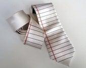 "Notebook Paper necktie. College Ruled, Wide Ruled lined paper tie. ""Too Cool for School."" Silkscreen tie. Teacher, writer, geek chic gift."