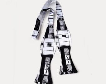 Saturn V men's bow tie, freestyle. Silkscreened white tie with black print and many more! Delight NASA, space & geek chic fans.