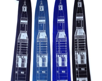 Rocket necktie. Saturn V men's tie. Silkscreened SILK tie. White printing ink. Choose standard or narrow.