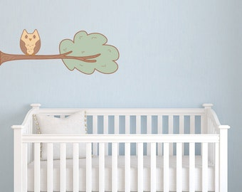 Whimsical Branch with Owl - Wall Decal