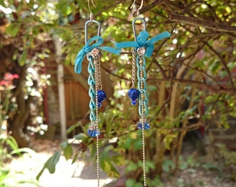 Funky Long Blue Earrings - Unusual dangly earrings with upcycled, repurposed components - chain, ribbon, beads - Icy blue, abstract & unique