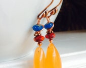 Colorful drop copper earrings
