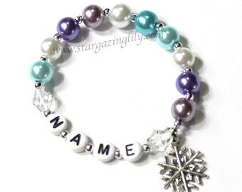 Winter themed frozen freezing cold snowflake bracelet Party Favor Bracelet Ice Crystal, Snowflake Charm Ice Crystal. party favor bracelet