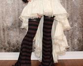 BellaDonna Steampunk High Low Ruffle Skirt - custom made in Ivory Cotton