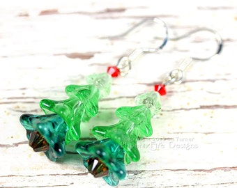 Miniature Christmas Tree Earrings Whimsical Style Czech Glass Swarovski Crystal Sterling Silver Hooks Holiday Jewelry PhoenixFire Designs