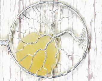 Sun Tree of Life Pendant Yellow Jade Sol Wire Wrapped Handmade Summer Sunny Beachy PhoenixFire Designs