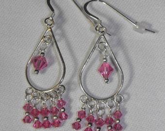 Rose Swarovski Chandelier Earrings & Sterling Silver Ear Wires