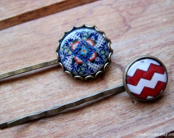 Mexican jewelry, Hair Accessories, Bobby pins, Hair pins, red and blue, folk art, colorful hair accessories
