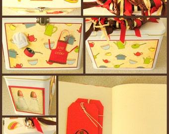 RECIPE TIN / Kitchen Home Decor Gift / Tin and Journal Set / Recipe Cards / Gift