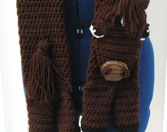 Crochet Pattern - Horse Animal Scarf Crochet Pattern - Horse Scarf - Animal Scarf - Horse Pattern - Crochet Horse - Direct Download