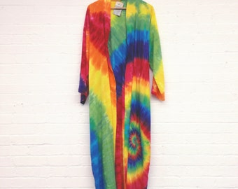 Handyed Rainbow Kimono Summer Robe In Silky Rayon - Tie Dye