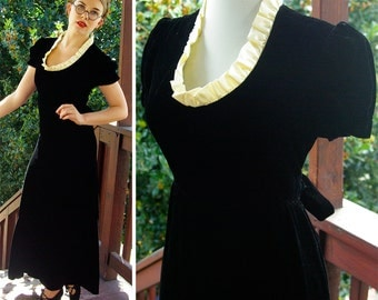 STORYBOOK 1960's does 30's Vintage Long Black VELVET Maxi Dress with Cream Satin Ruffles // size Small