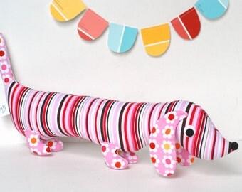 Pink Girly Modern Stuffed Wiener Dog Softie Plush for Kids Dachshund Doll Baby Toy PINKY