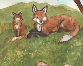 Original Art - The Ten of Foxes - Watercolor Fox Painting -The Badgers Forest Tarot