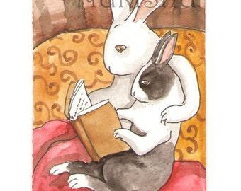 Reading Rabbits - Small Archival Fine Art Print