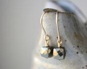Pyrite Earrings,  Black Grey Fools Gold Earrings, Small Gemstone Metallic