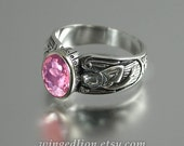 GUARDIAN ANGELS silver ring with Pink Tourmaline RESERVED for K.