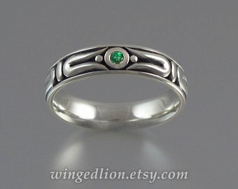 THE SECRET 14K gold mens wedding band with Emerald