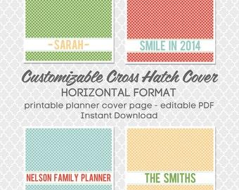 Customizable Cross Hatch (Horizontal Format) Planner Cover