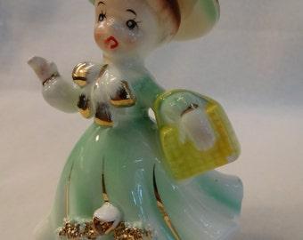 Vintage Sonsco Japan Ceramic Girl Figure 1960's Shopping Figurine