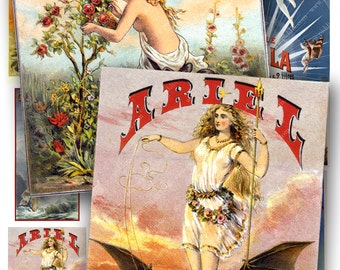Art Deco and Nouveau Vintage Posters and Ads in Blues in larger ACEO ATC sizes -- Women and Wings -- piddix digital collage sheet no. 30