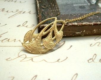 Gold Raw Brass Flower Necklace