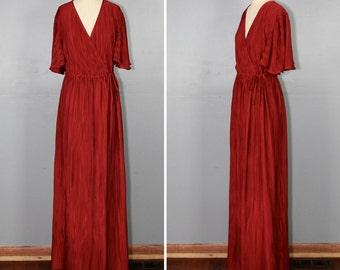 1970s dress / maxi dress / plunging / vintage NIGHT AT AMALFI dress